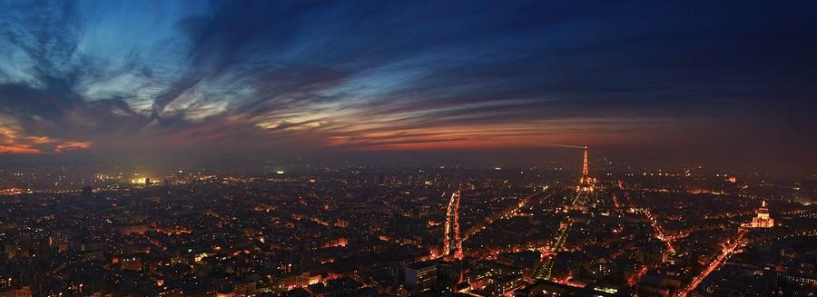 Photo Aerienne de Paris by Night Panorama%20Tour%20Eiffel-BorderMaker