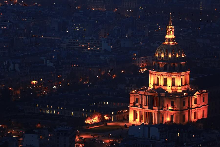 Photo Aerienne de Paris by Night Trocadero-BorderMaker
